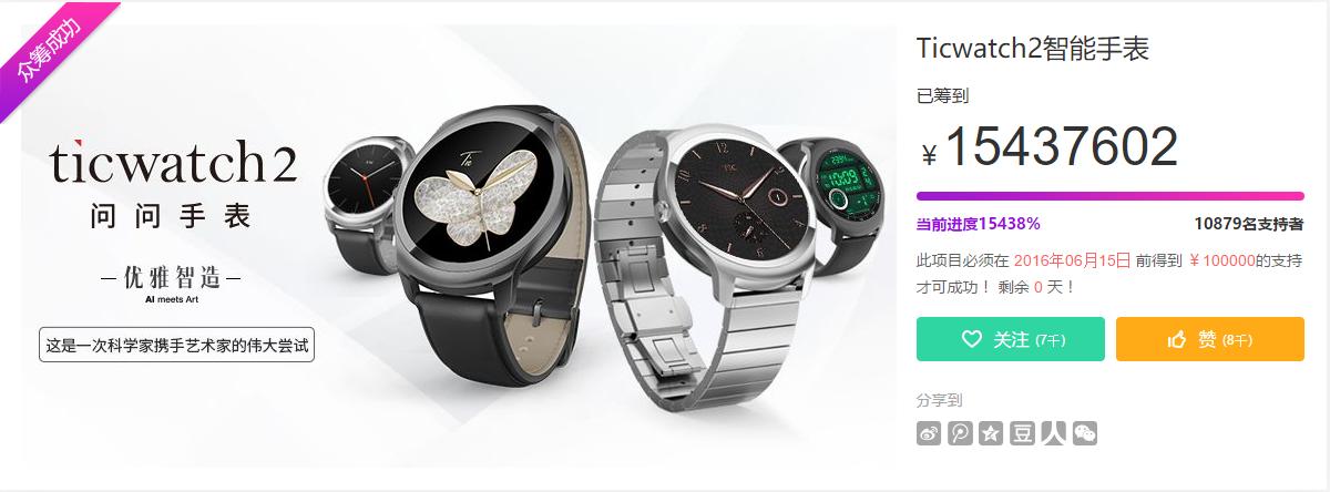 Ticwatch 2众筹成功,总计筹到一千五百余万元!